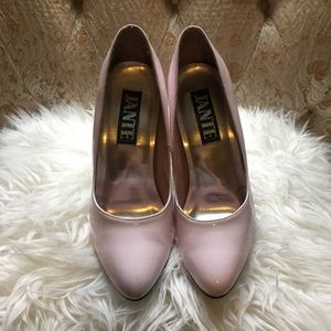 "Jante pink leather stilettos 4.5"" approx."